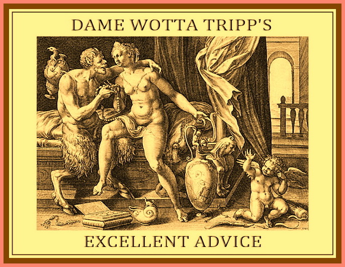 Welcome to Dame Wotta Tripp's Rich Treasure Trove of Advice!